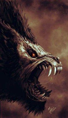 Werewolf Art by Howietzer @ deviantart Arte Horror, Horror Art, Dark Fantasy Art, Dark Art, Werewolf Art, Vampires And Werewolves, Creatures Of The Night, Monster Art, Creature Design