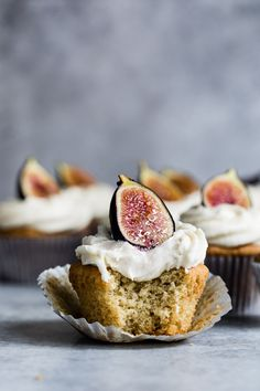 Gluten-Free Vanilla Cupcakes with Goat Cheese Frosting & Brûléed Figs /
