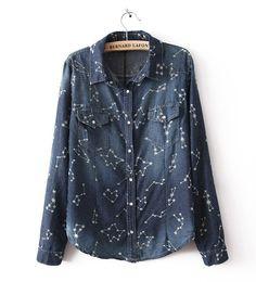 Denim Lapel Long Sleeve Constellation Print Pockets Decor Shirt @ MayKool.com