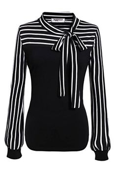 Zeagoo Ladies Tiebow Neck Striped Long Sleeve Splicing Autumn Shirt Medium Black -- Check this awesome product by going to the link at the image.Note:It is affiliate link to Amazon.