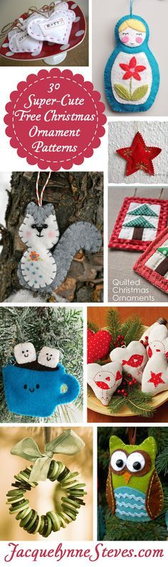 30 super cute free Christmas ornaments to make. Compiled by Jacquelynne Steves.