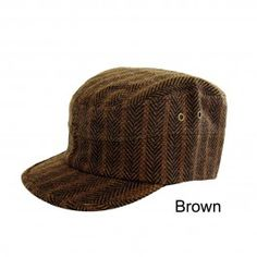 Military Unisex Cadet Hat Herringbone Brown