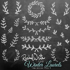 Winter Laurels Clip Art Set - 60 Images in Black, White, and Color - PNG, 300 dpi, 6 inches - Instant Download
