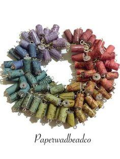 Paper Bead Bracelet Rainbow Paper Bead by PaperwadBeadCompany