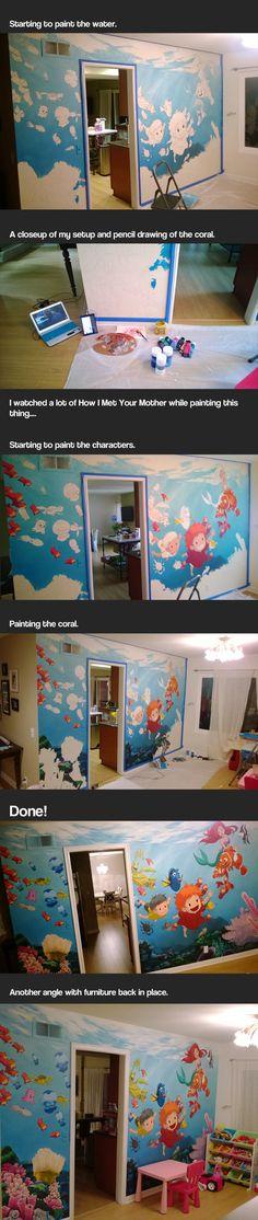 cool-undersea-mural-painting-Disney-wall