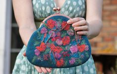 Retro felted clutch bag with red flowers by aureliaLT on Etsy