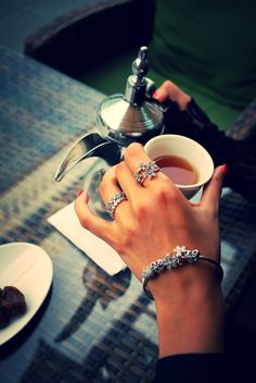 With the new floral pieces from PANDORA's Spring collection 2015 you are ready to enjoy a cup of tea in the sun. #PANDORAbracelet #PANDORAring