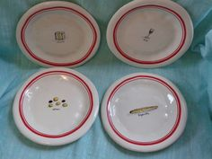 RAE DUNN French Picnic CHEESE WINE BREAD RED BORDER APPETIZER PLATES SET 4 NEW #RAEDUNN