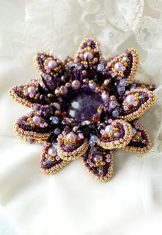 Bead embroidered purple brooch amethyst flower. $150.00, via Etsy.