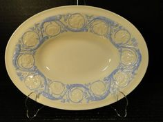 "Wedgwood Kingston Blue Patrician Oval Serving Bowl 10 1/2"" EXCELLENT!"