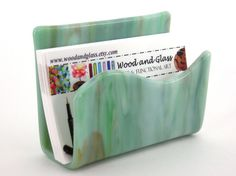 Business Card Holder / Fused Glass / Art Glass / by WoodAndGlass, $15.00
