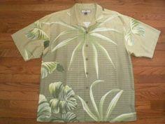 ALOHA SHIRT! MENS large TOMMY BAHAMA 100% SILK s/s HAWAIIAN green LEAF PATTERN