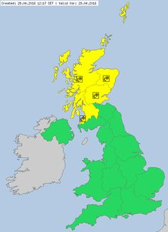 Meteoalarm - severe weather warnings for Europe -United Kingdom.29.04.2016 02:05 CET Until 29.04.2016 16:00 CET Snow/Ice Awareness Level:Yellow A spell of persistent and at times heavy snow is expected for parts of eastern Scotland starting Thursday night and lasting into Friday. Accumulations of 5-10 cm are likely above about 100 m with 20 cm or more possible above 200 m, where drifting of snow in strong winds could be an additional hazard. At lower levels and near coasts an uncertain mix…
