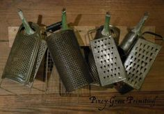 Old Farmhouse Antique Kitchen Graters Gathering and Make do Wood Peg Rack   eBay