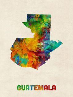 Guatemala Watercolor Map Canvas Print / Canvas Art by Michael Tompsett