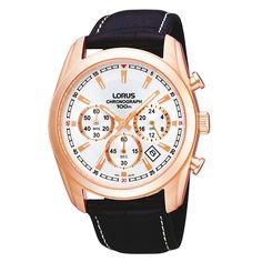 Lorus Men's  black chronograph dial watch