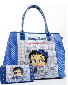 Blue Betty Boop City Scene Rhinestone Studded Purse & Wallet SET New Handbags, Purses And Handbags, Betty Boop Birthday, Betty Boop Figurines, Betty Boop Purses, Black Betty Boop, Studded Purse, Love Blue, Purse Wallet