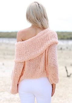 Cowl Neck Sweater - Peach - Features Ribbed Sleeves Sweater #Christmas #Fashion