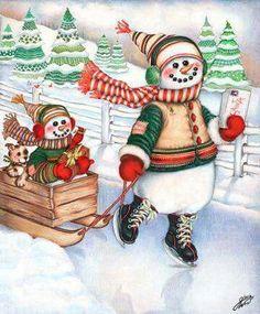 Snowman skating.