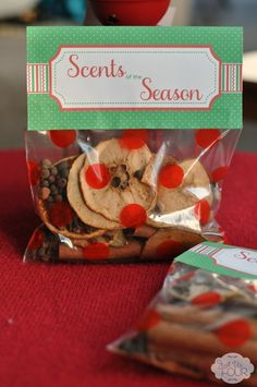 What a fabulous gift idea?! Make dried fruit potpourri that smells just like Christmas. This one even comes with a free printable tag!