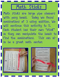 Golden Gang Kindergarten: Math Sticks with recording pages (composing numbers Math Classroom, Kindergarten Math, Teaching Math, Classroom Ideas, Kindergarten Addition, Teaching Ideas, Love Math, Fun Math, Math Stations