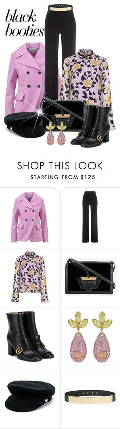 """Back to Basics: Black Booties"" by shamrockclover ❤ liked on Polyvore featuring Valentino, AG Adriano Goldschmied, Ganni, Loewe, Gucci, Mawi, Manokhi and Halston Heritage"