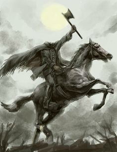 Another Halloween picture for this week. The headless horseman from The Legend of Sleepy Hollow! THE HEADLESS HORSEMAN Halloween Horror, Fall Halloween, Halloween Legends, Happy Halloween, Sleepy Hollow Headless Horseman, Creepy, Scary, Legend Of Sleepy Hollow, Legends And Myths
