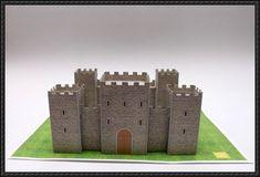 Saint Jordi Medieval Castle Paper Model - by Eme Arq Studio Kids Castle, Toy Castle, Paper Doll House, Paper Houses, Medieval Houses, Medieval Castle, Castle Crafts, Castle Project, Cardboard Castle