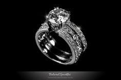 2.8 Round Cut Engagement Ring Set, Bridal Solitaire 7 Carat Wedding CZ Ring Set Vintage Anniversary Eternity Cubic Zirconia Diamond Ring