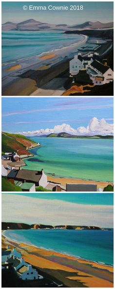 Three paintings of Morfa Nefyn, North Wales by contemporary artist Emma Cownie