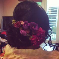 dark hair up flowers pink purple wedding hair down hair up up do vintage messy sleek bridal hair dresser makeup artist Wirral Liverpool natural bride makeup