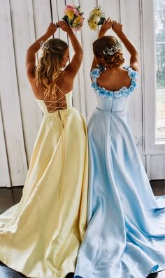 Places to visit Bescheiden A Line Long Yellow Prom Kleid - What To Look For W Pretty Prom Dresses, Hoco Dresses, Modest Dresses, Cute Dresses, Beautiful Dresses, Wedding Dresses, Prom Dresses Pockets, Yellow Prom Dresses, Homecoming Dresses Long