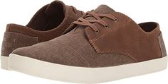 TOMS  Men's Paseo Chocolate Brown Leather/Washed Canvas Oxford