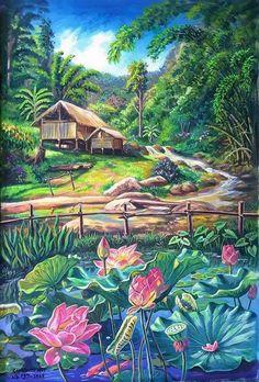 รูปภาพ Watercolor Landscape, Landscape Paintings, Watercolor Paintings, Lotus Art, Thai Art, Tropical Art, Wildlife Art, Beautiful Paintings, Fantasy Art