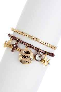 Faith, Hope, Love Bracelet Set