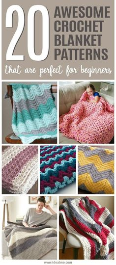 20 Awesome Crochet Blanket Patterns for Beginners - Ideal Me To help you ease i. 20 Awesome Crochet Blanket Patterns for Beginners – Ideal Me To help you ease into the world of Crochet Diy, Crochet Afghans, Crochet Simple, Crochet Blanket Patterns, Love Crochet, Learn To Crochet, Crochet Crafts, Knitting Patterns, Crochet Ideas