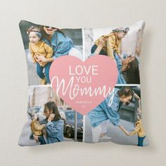 Love You 'Mommy' Custom Photo Collage Heart Throw Pillow - tap to personalize and get yours #ThrowPillow #mothers #day, #photo #collage, #family, Throw Cushions, Decorative Throw Pillows, Photo Collage Template, Photo Pillows, Mother Birthday Gifts, I Love You Mom, Simple Photo, Modern Pillows, Perfect Gift For Mom