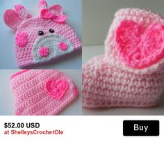 Girl Pink Giraffe Baby Set - Pink Giraffe Hat - Diaper Cover and Booties - Photo Prop - 0 to 3 Months - 3 to 6 Months -