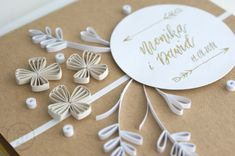 Eco, złoto, boho! kartka nowoczesna kaligrafia quilling handmade miodern calligraphy Paper Quilling Cards, Place Card Holders, Bows, Calligraphy, Handmade, Arches, Lettering, Hand Made, Bowties