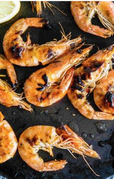 Shrimp is easy finger food on the Big Game. Put 'em on the grill and you won't regret it. This succulent recipe has a spicy marinade that's keepin' it hot. Prawn Recipes, Shellfish Recipes, Salmon Recipes, Pork Recipes, Mexican Food Recipes, Chicken Recipes, Game Recipes, Spring Grilling Recipes, Grilled Prawns