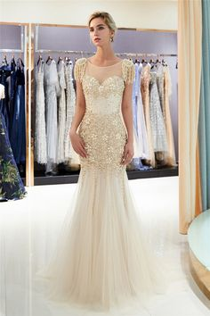 Sexy See Through Top Prom Dresses with Sweep Train Exquisite Pearls Beading Gold Evening Dresses Elegant Zipper Up Long Evening Gown Cheap Mermaid Prom Dresses, Prom Dresses For Sale, Prom Party Dresses, Prom Gowns, Wedding Dresses, Hoco Dresses, Graduation Dresses, Formal Dresses, Occasion Dresses