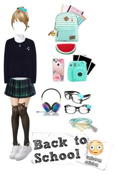 """""""Back to School! Uniform Edition"""" by evilblackcat13 on Polyvore featuring mode, Misha Nonoo, Acne Studios, WithChic, Miss Selfridge, Dickies, Casetify, Polaroid, Frends et Hello Kitty"""