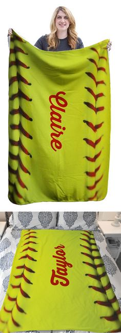 Softball Stitches Sherpa Fleece Blanket! A great personalized gift for softball players, fans, coaches and parents!
