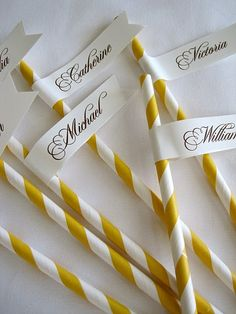 Name tags on paper drinking straws, cool idea and easy to do. $1.15 for 12 pieces, buy more to get discounts! #wedding #ideas