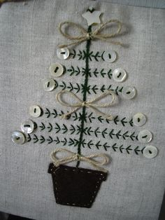 Christmas tree embroidery with buttons | throw pillow case