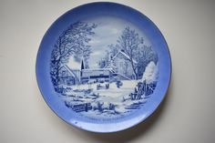 Vintage Blue u0026 White THE FARMERS HOME WINTER Collector Plate Currier u0026 Ives & Vintage Chinese Bamboo Plate Made By Plate Specialist Taiwan 6-1/4 ...