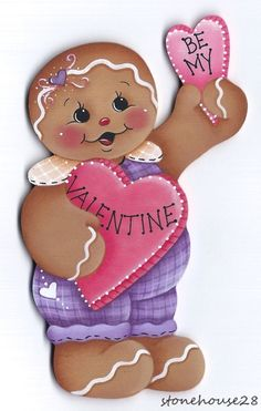 "HP GINGERBREAD ""Be My Valentine"" FRIDGE MAGNET #Handpainted"