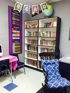 Bookcases, bulletin boards, desk arrangements, and other decoration ideas for the secondary classroom.