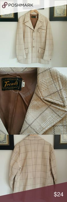 VINTAGE | MEN'S SUIT JACKET XL If you've got some serious vintage flair to your look then this sports coat is for you or if you just wanna pretend that you do, then it makes a great 70's costume!  * 3-button front  * Butterfly notched collar * Checkered design * Polyester  * By California Trends Western Sportswear of Los Angeles  * Tagged XL. My hubby wore it once to a disco bash and he's a 42L.  Length 31"