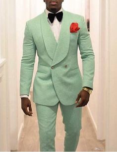 Men's Party Wear Mint Green Wedding Tuxedos Prom Outfit 2021 Two Piece Groom Tuxedos Trim Fit Men Party Suit Custom Made Groomsmen Suits Tuxedo Suit For Men, Linen Suits For Men, Groom Tuxedo, Mens Suits, Mens Beach Wedding Attire, Wedding Men, Wedding Suits, Wedding Tuxedos, Green Wedding